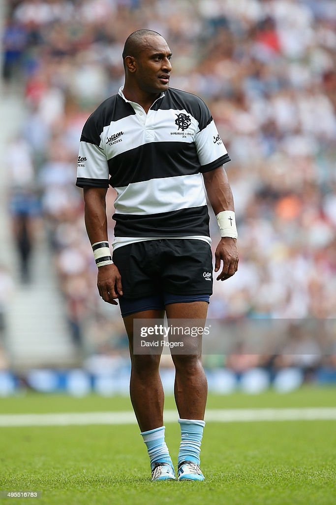 Joe Rokocoko of the Barbarians looks on during the Rugby Union International Match between England and The Barbarians at Twickenham Stadium on June 1...