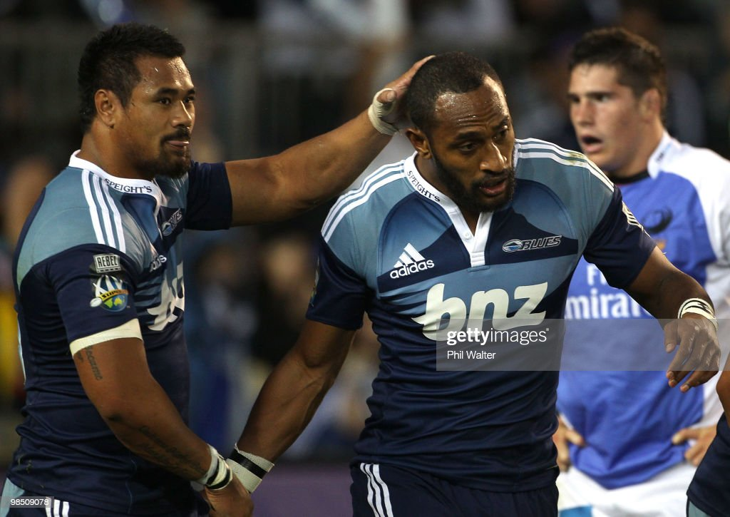 Joe Rokocoko of the Blues is congratulated after scoring his try by Isaia Toeava during the round 10 Super 14 match between the Blues and the Western...