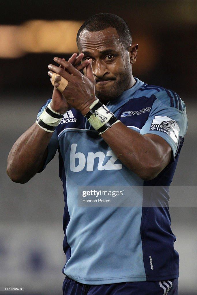 Joe Rokocoko of the Blues thanks the crowd after playing his final game at home during the Super Rugby qualifier match between the Blues and the...