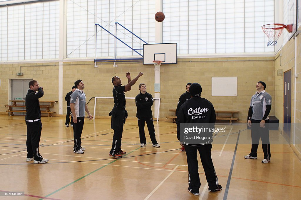 Joe Rokocoko takes part in a game of basketball after the Barbarians training session held at Latymer School on November 30 2010 in London England