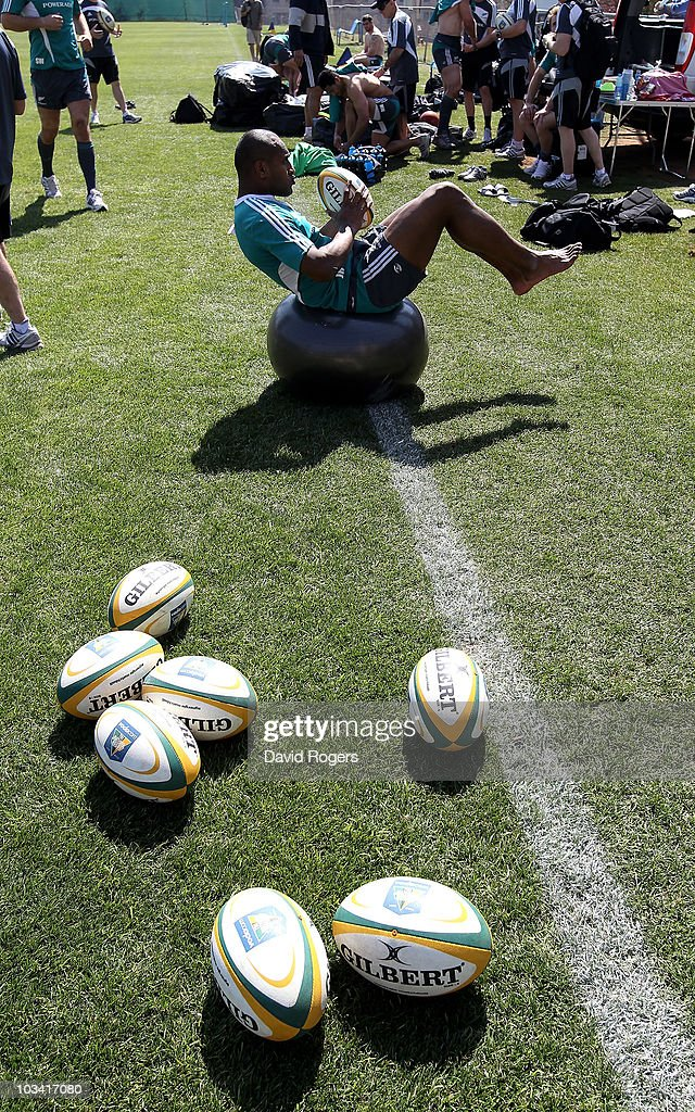 Joe Rokocoko warms down after the New Zealand All Blacks training session at Witswatersrand University on August 17 2010 in Johannesburg South Africa
