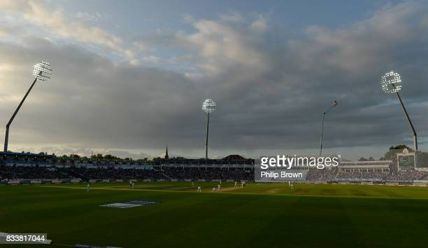 Joe Root and Alastair Cook of England share a partnership during the first day of the 1st Investec Test match between England and the West Indies at...