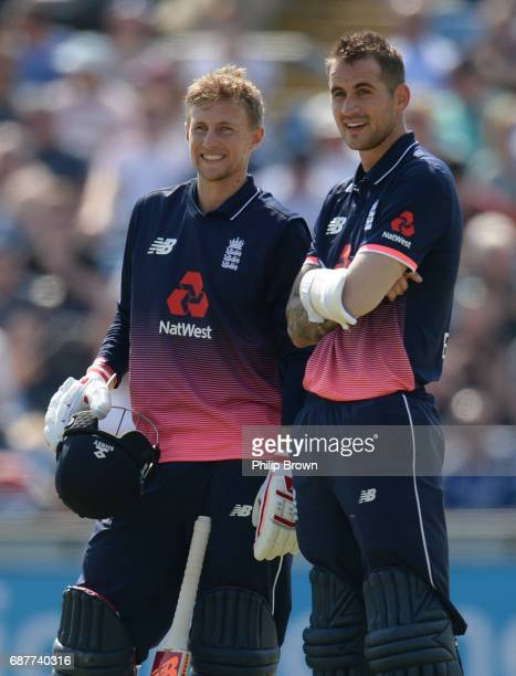 Joe Root and Alex Hales of England during the 1st Royal London oneday international cricket match between England and South Africa at Headingley...