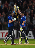 Joe Root and Ben Stokes of England celebrate victory in the 4th ODI Royal London OneDay International between England and New Zealand at Trent Bridge...