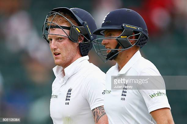 Joe Root and Ben Stokes of England walk off for the tea break during day two of the 3rd Test at Wanderers Stadium on January 15 2016 in Johannesburg...