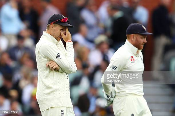 Joe Root and Jonny Bairstow of England show their frustration during day two of the Second Test match during the 2017/18 Ashes Series between...