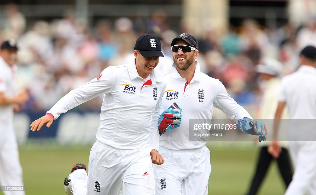 <a gi-track='captionPersonalityLinkClicked' href=/galleries/search?phrase=Joe+Root&family=editorial&specificpeople=6688996 ng-click='$event.stopPropagation()'>Joe Root</a> and <a gi-track='captionPersonalityLinkClicked' href=/galleries/search?phrase=Matt+Prior+-+Cricket+Player&family=editorial&specificpeople=13652111 ng-click='$event.stopPropagation()'>Matt Prior</a> of England share a joke during day two of the Essex v England LV= Challenge match at the Ford County Ground on July 1, 2013 in Chelmsford, England.