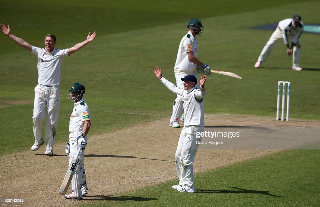 <a gi-track='captionPersonalityLinkClicked' href=/galleries/search?phrase=Joe+Root&family=editorial&specificpeople=6688996 ng-click='$event.stopPropagation()'>Joe Root</a> and <a gi-track='captionPersonalityLinkClicked' href=/galleries/search?phrase=Steven+Patterson+-+Cricketspeler&family=editorial&specificpeople=15562678 ng-click='$event.stopPropagation()'>Steven Patterson</a> (L) of Yorkshire appeal as <a gi-track='captionPersonalityLinkClicked' href=/galleries/search?phrase=Jackson+Bird&family=editorial&specificpeople=8665256 ng-click='$event.stopPropagation()'>Jackson Bird</a> is dismissed LBW during the Specsavers County Championship division one match between Nottinghamshire and Yorkshire at Trent Bridge on May 4, 2016 in Nottingham, England.