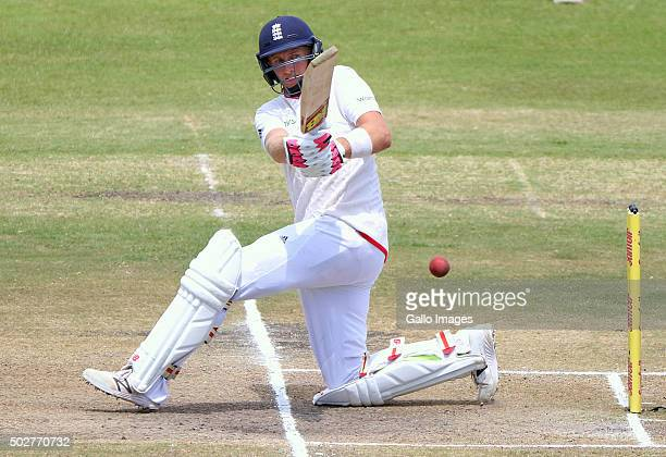 Joe Root bats during the day 4 of the 1st test match between South Africa and England at Sahara Stadium Kingsmead on December 29 2015 in Durban South...