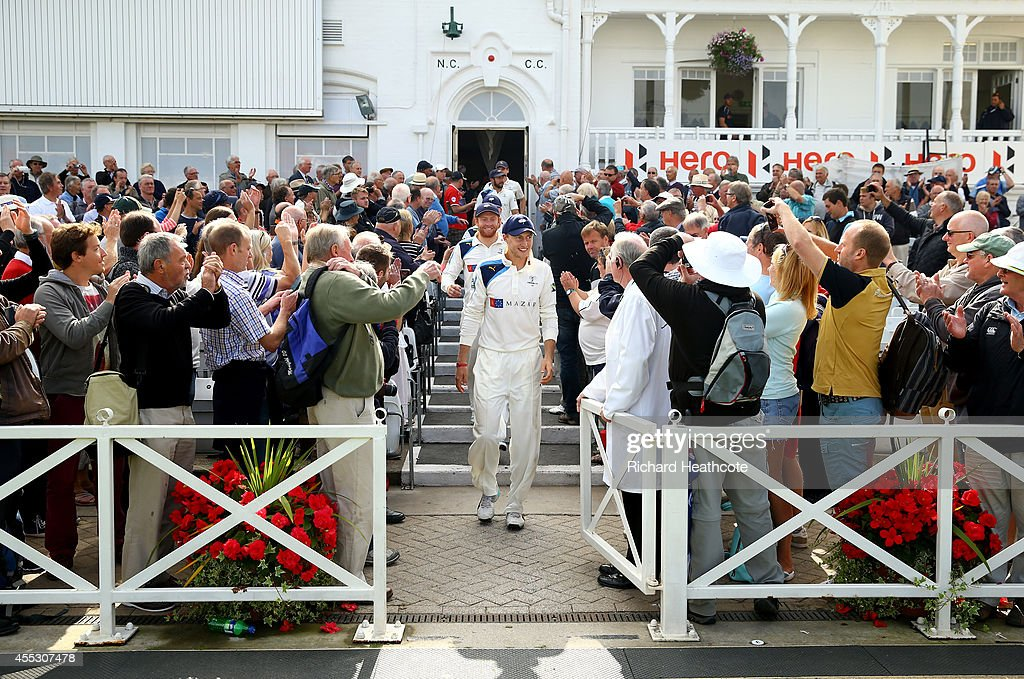 Joe Root leads the victorious Yorkshire team out of the dressing room after they secured victory against Nottinghamshire and won the league during...