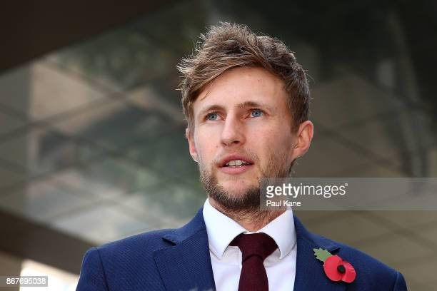 Joe Root of England addresses the media after arriving at the team hotel on October 29 2017 in Perth Australia ahead of the 2018/18 Ashes Series in...