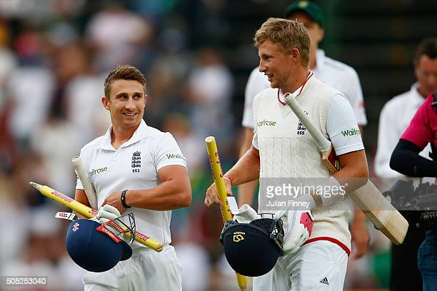 Joe Root of England and James Taylor of England walk off after scoring the winning runs to win the match and series during day three of the 3rd Test...