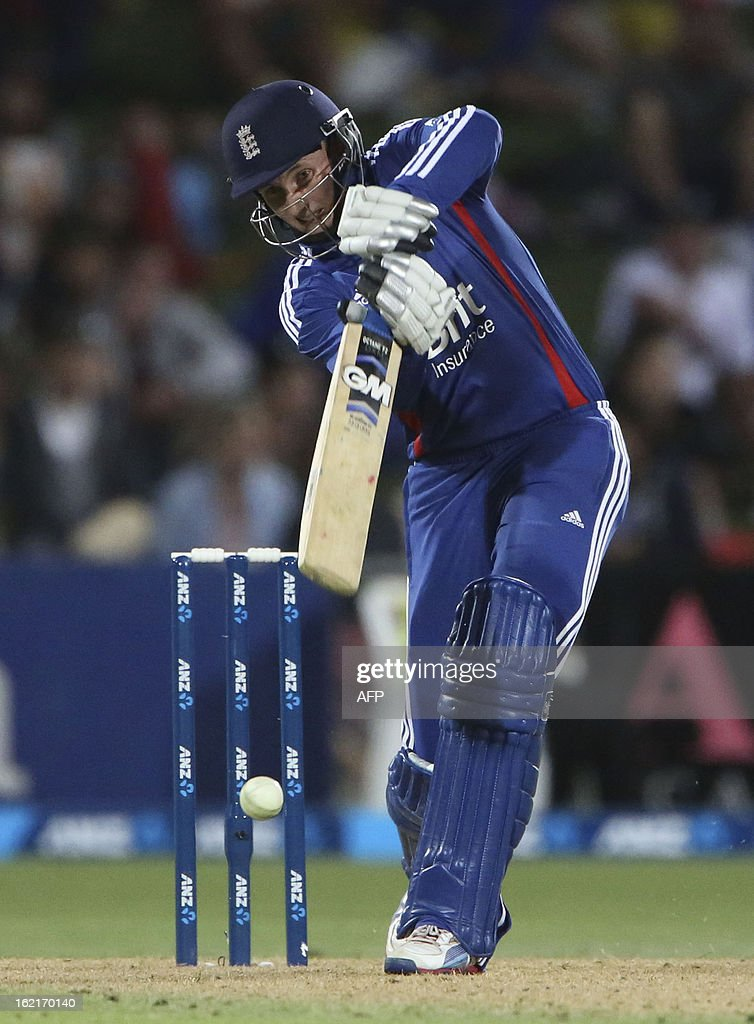 Joe Root of England bats against New Zealand during their second one-day international cricket match at McLean Park in Napier on February 20, 2013. AFP PHOTO / John Cowpland