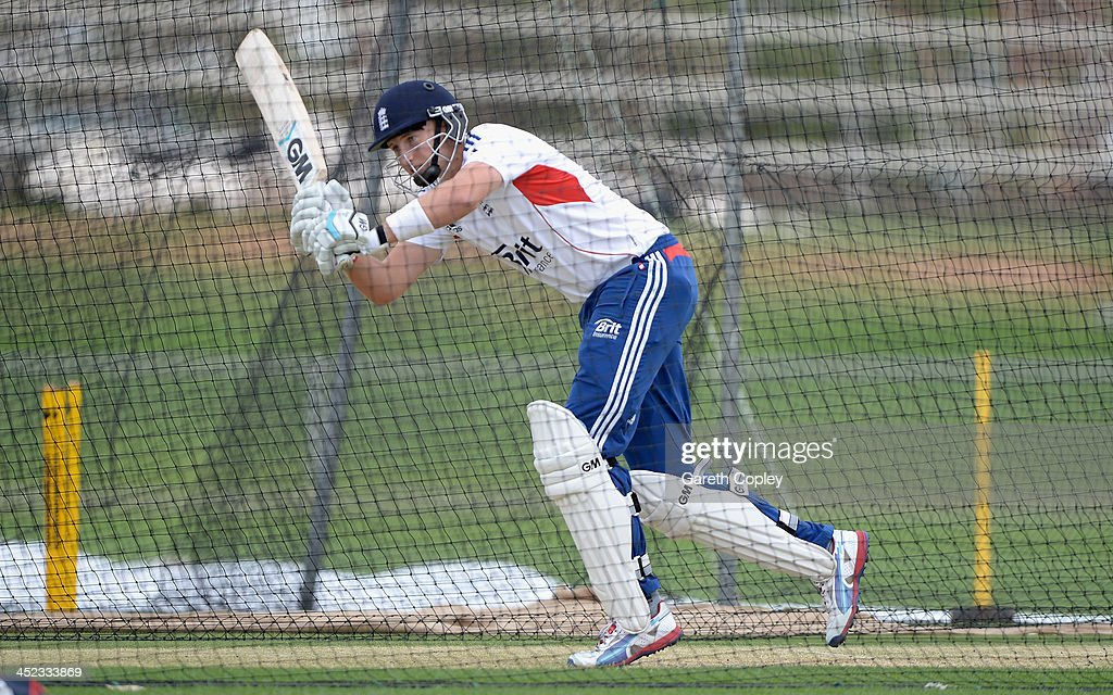 <a gi-track='captionPersonalityLinkClicked' href=/galleries/search?phrase=Joe+Root&family=editorial&specificpeople=6688996 ng-click='$event.stopPropagation()'>Joe Root</a> of England bats during a nets session at Traeger Park on November 28, 2013 in Alice Springs, Australia.