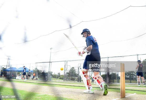 Joe Root of England bats during an England nets session at Riverway Stadium on November 14 2017 in Townsville Australia