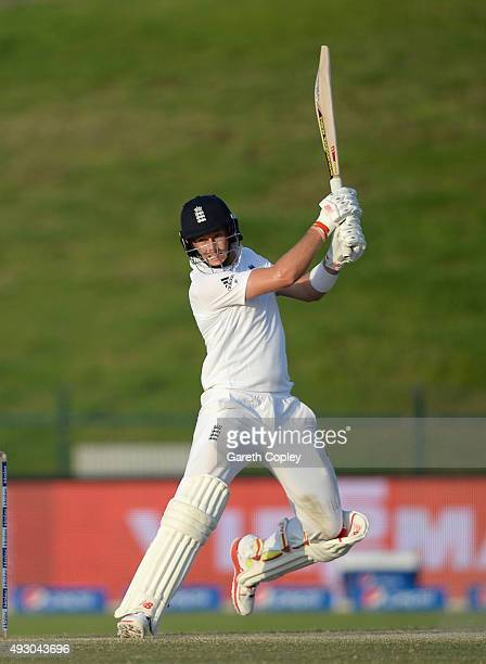 Joe Root of England bats during day five of the 1st Test between Pakistan and England at Zayed Cricket Stadium on October 17 2015 in Abu Dhabi United...