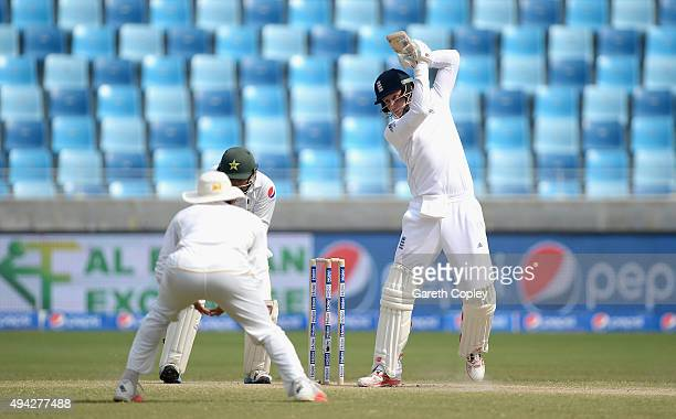 Joe Root of England bats during day five of the 2nd test match between Pakistan and England at Dubai Cricket Stadium on October 25 2015 in Dubai...
