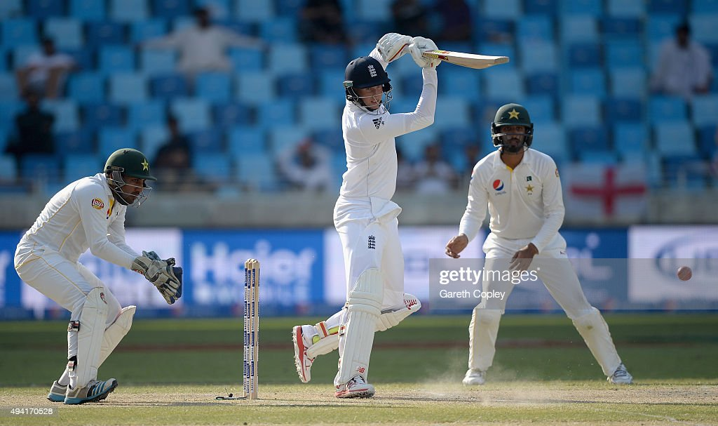 Joe Root of England bats during day four of the 2nd test match between Pakistan and England at Dubai Cricket Stadium on October 25 2015 in Dubai...