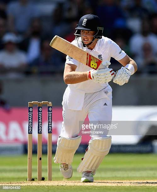Joe Root of England bats during day four of the 3rd Investec Test between England and Pakistan at Edgbaston on August 6 2016 in Birmingham England