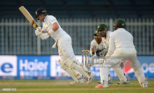 Joe Root of England bats during day four of the 3rd Test between Pakistan and England at Sharjah Cricket Stadium on November 4 2015 in Sharjah United...