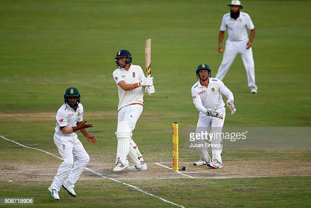 Joe Root of England bats during day four of the 4th Test at Supersport Park on January 25 2016 in Centurion South Africa