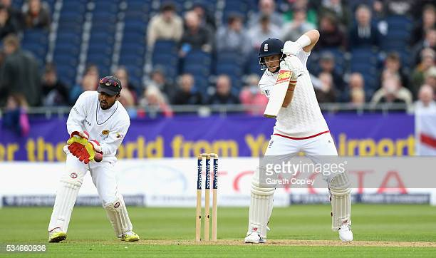 Joe Root of England bats during day one of the 2nd Investec Test match between England and Sri Lanka at Emirates Durham ICG on May 27 2016 in...