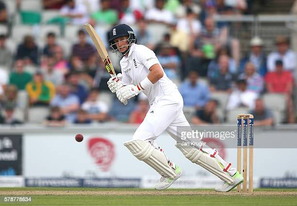 Joe Root of England bats during day one of the 2nd Investec Test match between England and Pakistan at Old Trafford on July 22 2016 in Manchester...