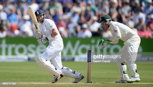 Joe Root of England bats during day three of the 1st Investec Ashes Test match between England and Australia at SWALEC Stadium on July 10 2015 in...