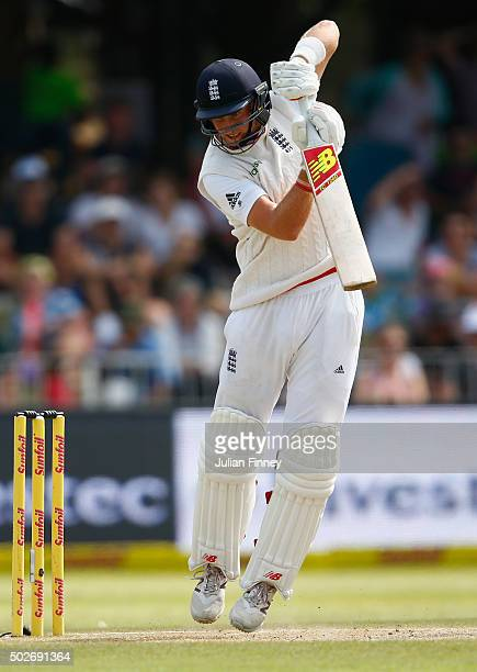 Joe Root of England bats during day three of the 1st Test between South Africa and England at Sahara Stadium Kingsmead on December 28 2015 in Durban...