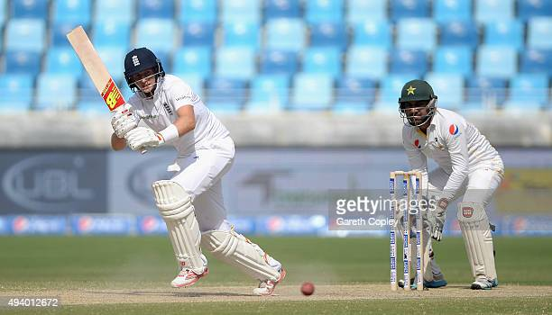 Joe Root of England bats during day three of the 2nd test match between Pakistan and England at Dubai Cricket Stadium on October 24 2015 in Dubai...