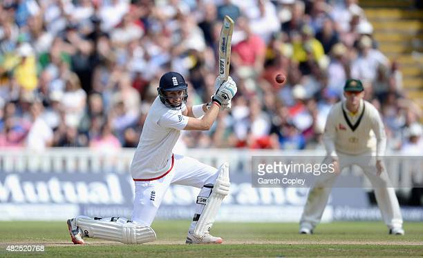 Joe Root of England bats during day three of the 3rd Investec Ashes Test match between England and Australia at Edgbaston on July 31 2015 in...