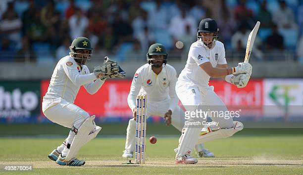 Joe Root of England bats during day two of the 2nd test match between Pakistan and England at Dubai Cricket Stadium on October 23 2015 in Dubai...