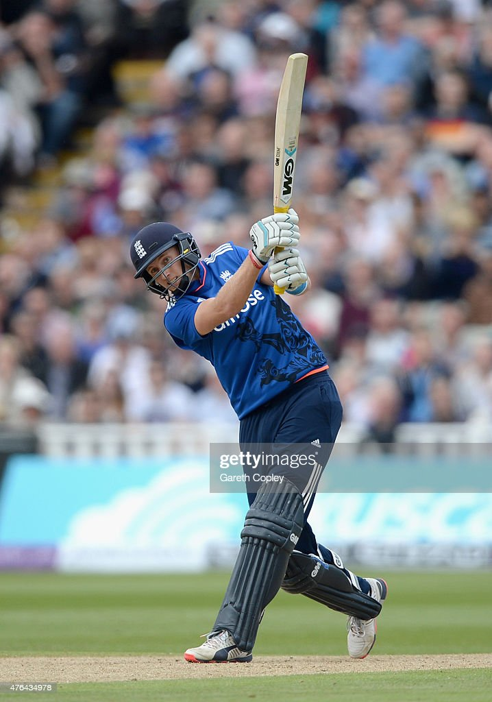 <a gi-track='captionPersonalityLinkClicked' href=/galleries/search?phrase=Joe+Root&family=editorial&specificpeople=6688996 ng-click='$event.stopPropagation()'>Joe Root</a> of England bats during the 1st ODI Royal London One-Day match between England and New Zealand at Edgbaston on June 9, 2015 in Birmingham, England.