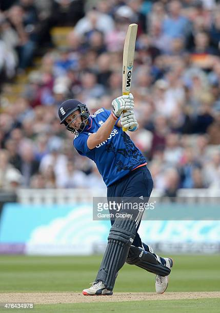 Joe Root of England bats during the 1st ODI Royal London OneDay match between England and New Zealand at Edgbaston on June 9 2015 in Birmingham...
