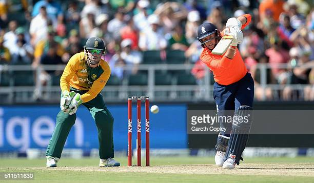 Joe Root of England bats during the 2nd KFC T20 International match between South Africa and England at Bidvest Wanderers Stadium on February 21 2016...