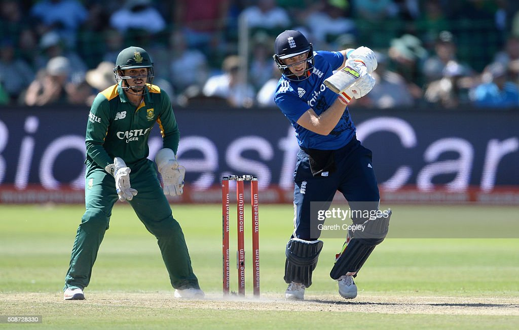 <a gi-track='captionPersonalityLinkClicked' href=/galleries/search?phrase=Joe+Root&family=editorial&specificpeople=6688996 ng-click='$event.stopPropagation()'>Joe Root</a> of England bats during the 2nd Momentum ODI between South Africa and England at St George's Park on February 6, 2016 in Port Elizabeth, South Africa.