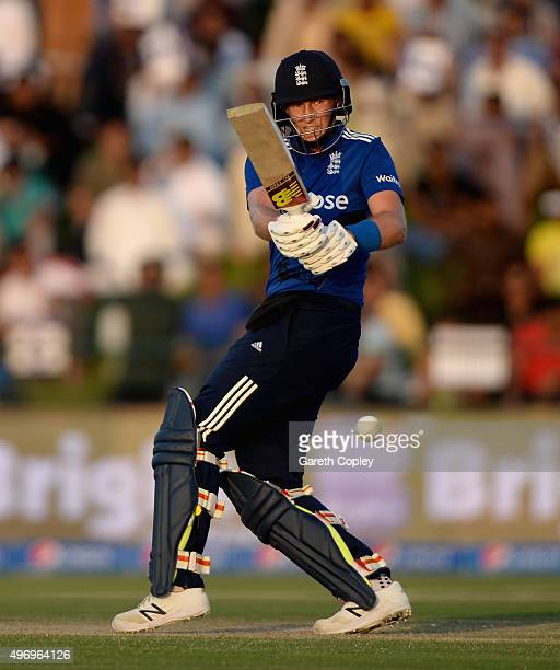 Joe Root of England bats during the 2nd One Day International between Pakistan and England at Zayed Cricket Stadium on November 13 2015 in Abu Dhabi...