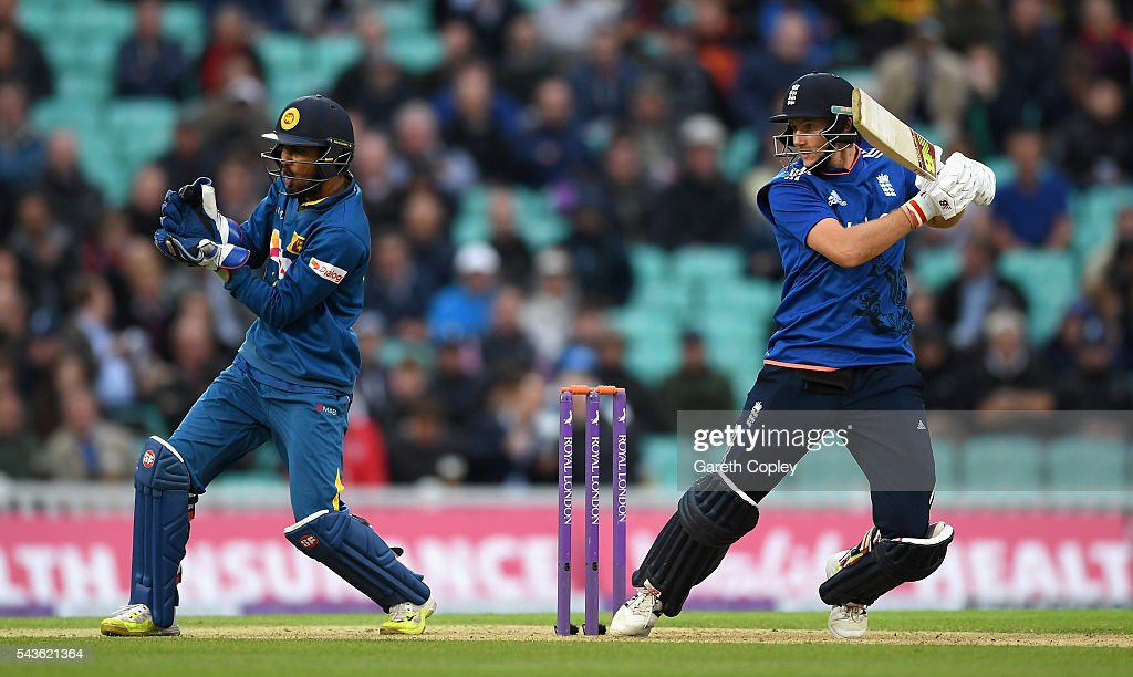 <a gi-track='captionPersonalityLinkClicked' href=/galleries/search?phrase=Joe+Root&family=editorial&specificpeople=6688996 ng-click='$event.stopPropagation()'>Joe Root</a> of England bats during the 4th ODI Royal London One Day International match between England and Sri Lanka at The Kia Oval on June 29, 2016 in London, England.