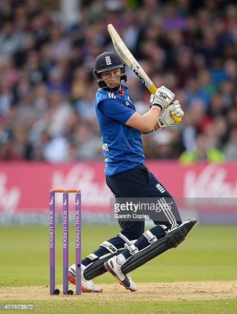 Joe Root of England bats during the 4th ODI Royal London OneDay match between England and New Zealand at Trent Bridge on June 17 2015 in Nottingham...