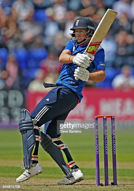 Joe Root of England bats during the 5th ODI Royal London One Day International match between England and Sri Lanka at SWALEC Stadium on July 2 2016...