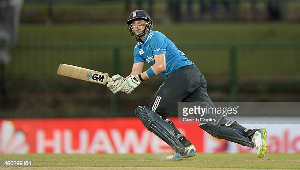 Joe Root of England bats during the 5th One Day International between Sri Lanka and England at Pallekele Cricket Stadium on December 11 2014 in Kandy...