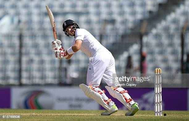 Joe Root of England bats during the first Test match between Bangladesh and England at Zohur Ahmed Chowdhury Stadium on October 20 2016 in Chittagong...