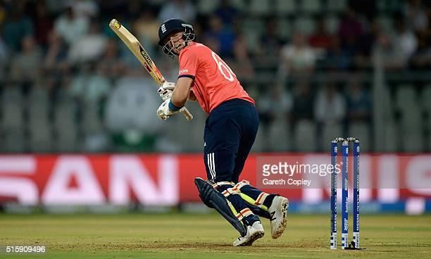 Joe Root of England bats during the ICC World Twenty20 India 2016 Super 10s Group 1 match between West Indies and England at Wankhede Stadium on...