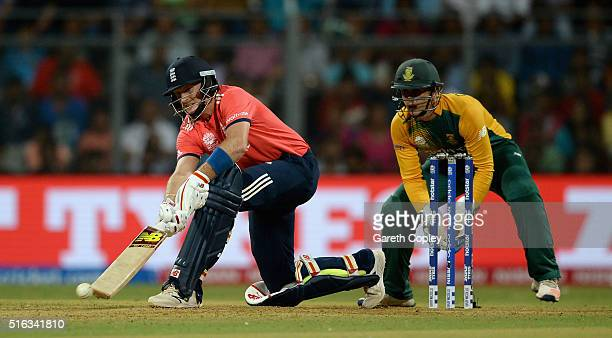 Joe Root of England bats during the ICC World Twenty20 India 2016 Super 10s Group 1 match between South Africa and England at Wankhede Stadium on...