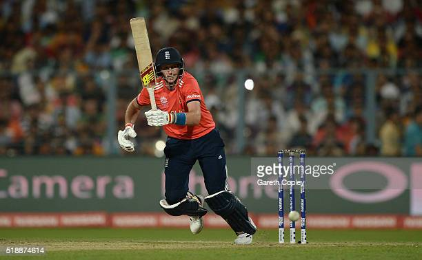 Joe Root of England bats during the ICC World Twenty20 India 2016 Final between England and the West Indies at Eden Gardens on April 3 2016 in...
