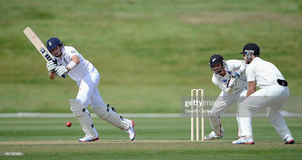 <a gi-track='captionPersonalityLinkClicked' href=/galleries/search?phrase=Joe+Root&family=editorial&specificpeople=6688996 ng-click='$event.stopPropagation()'>Joe Root</a> of England bats during the International tour match between New Zealand XI and England at Queenstown Events Centre on February 27, 2013 in Queenstown, New Zealand.