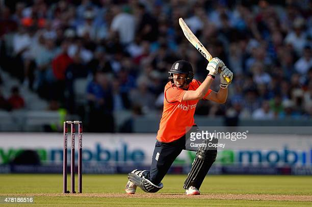 Joe Root of England bats during the NatWest International Twenty20 match between England and New Zealand at Old Trafford on June 23 2015 in...