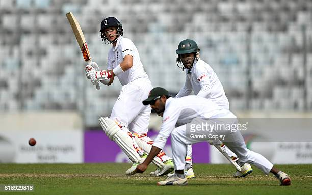 Joe Root of England bats during the second day of the 2nd Test match between Bangladesh and England at ShereBangla National Cricket Stadium on...
