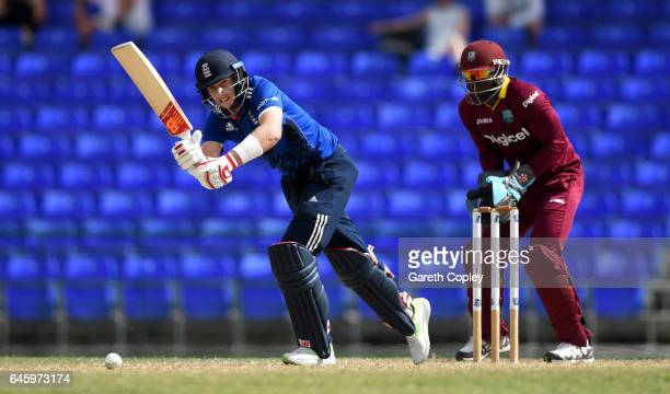 Joe Root of England bats during the tour match between WICB President's XI and England at Warner Park on February 26 2017 in Basseterre St Kitts