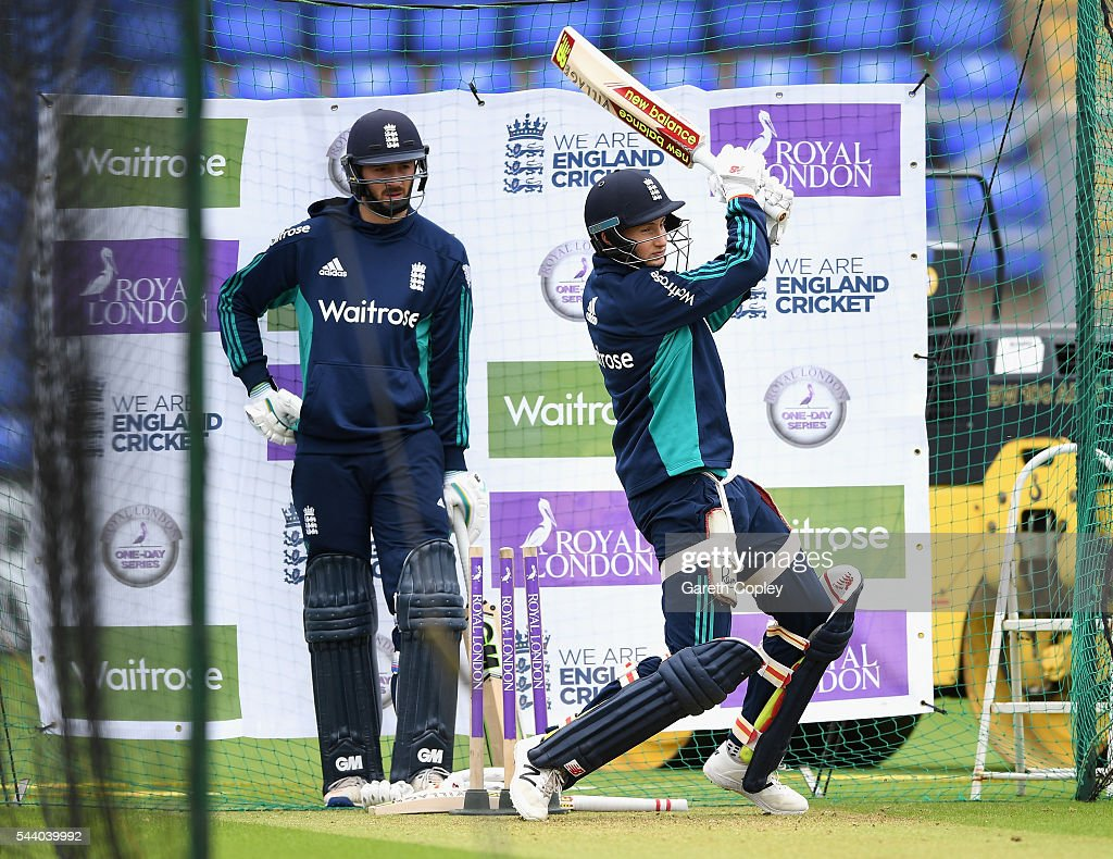 <a gi-track='captionPersonalityLinkClicked' href=/galleries/search?phrase=Joe+Root&family=editorial&specificpeople=6688996 ng-click='$event.stopPropagation()'>Joe Root</a> of England bats watched by <a gi-track='captionPersonalityLinkClicked' href=/galleries/search?phrase=James+Vince&family=editorial&specificpeople=5807286 ng-click='$event.stopPropagation()'>James Vince</a> during a nets session at SWALEC Stadium on July 1, 2016 in Cardiff, England.